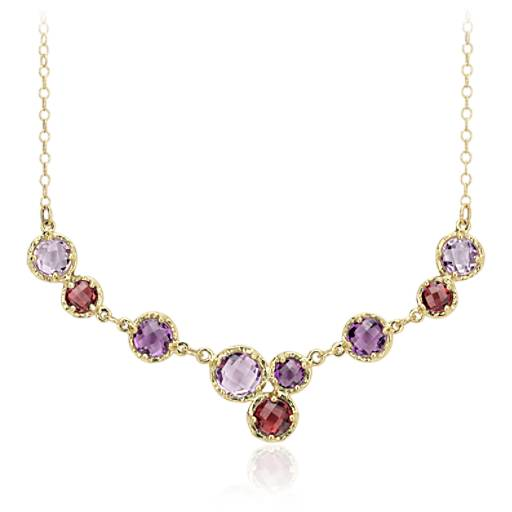 Lavender Amethyst and Rhodolite Garnet Necklace in 14k Yellow Gold