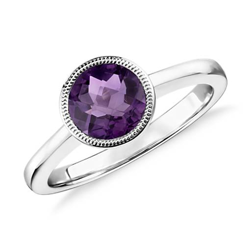 NEW Amethyst Round Milgrain Ring in Sterling Silver (7mm)