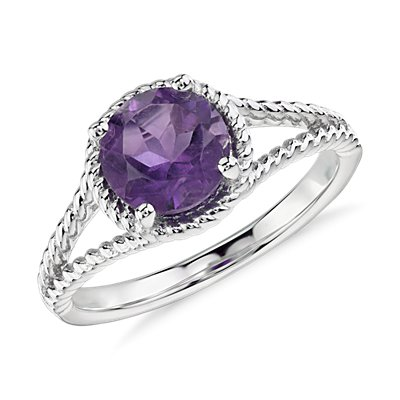 NEW Amethyst Rope Ring in Sterling Silver (7mm)