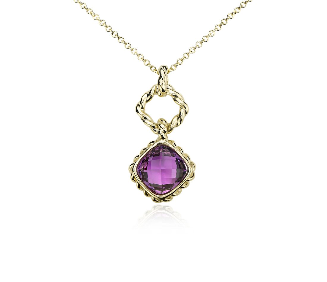 Amethyst Roped Pendant in 14k Yellow Gold