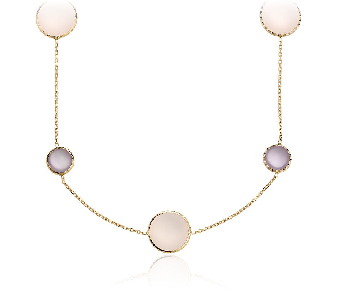 Rose Quartz and Amethyst Cabochon Necklace in Yellow Gold Vermeil