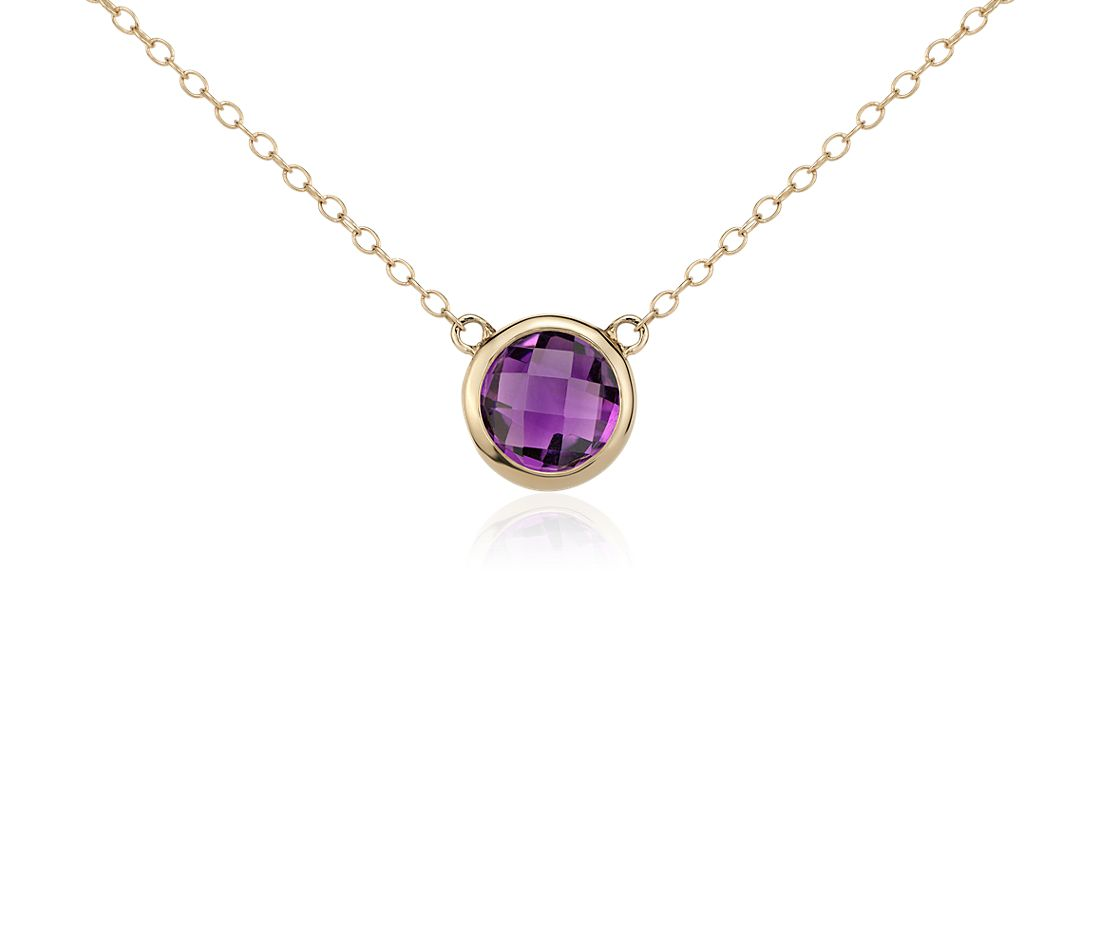 Amethyst Solitaire Necklace in 14k Yellow Gold (8mm)