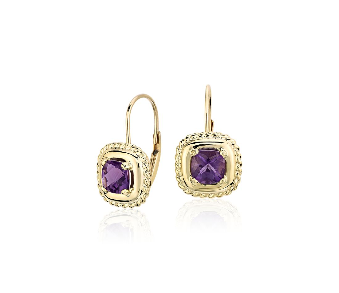 Amethyst Square Roped Drop Earrings in 14k Yellow Gold