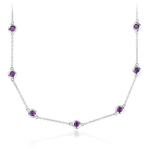 Amethyst Stationed Necklace in Sterling Silver (3mm)