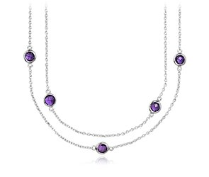 Amethyst Chain Necklace in Sterling Silver - 36
