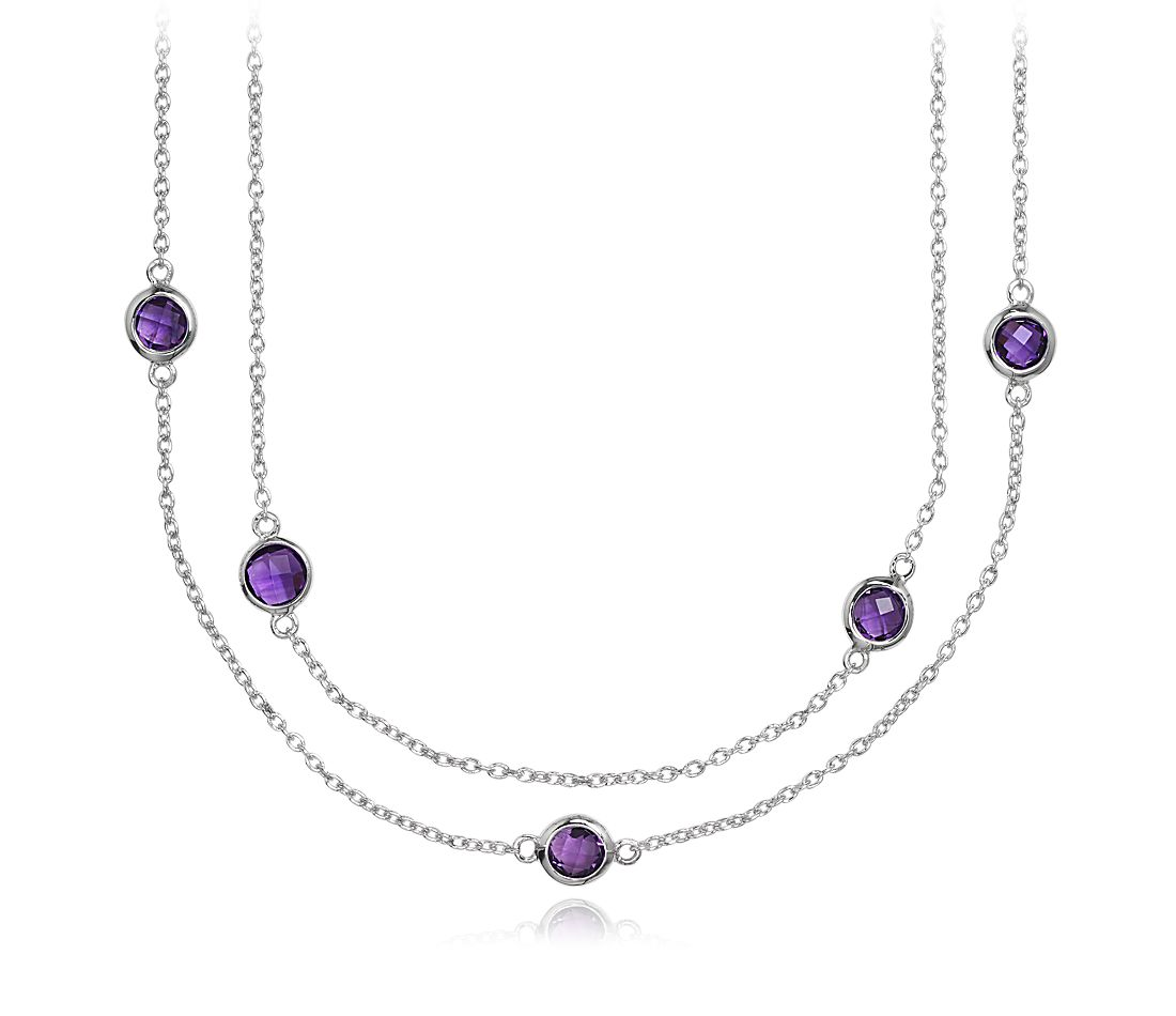 "Amethyst Chain Necklace in Sterling Silver - 36"" Long"
