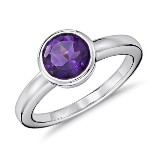 Amethyst Round Bezel-Set Ring in Sterling Silver