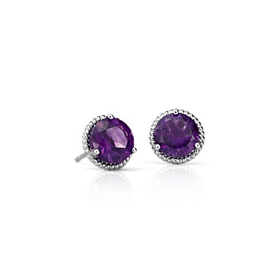 Amethyst Rope Stud Earrings in Sterling Silver (7mm)