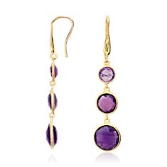 Amethyst Triple Drop Dangle Earrings in 18k Yellow Gold Vermeil