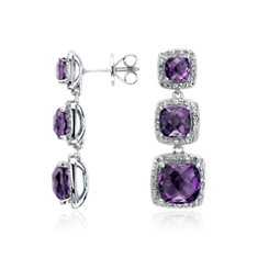 Amethyst Triple Halo Drop Earrings in Sterling Silver