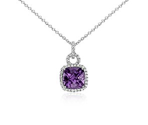 Amethyst and White Sapphire Halo Cushion-Cut Pendant in Sterling Silver