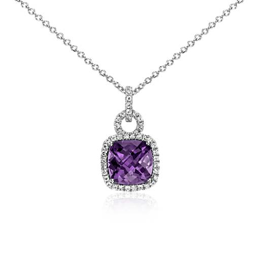 Amethyst and White Sapphire Halo Cushion-Cut Pendant in Sterling Silver (9x9mm)