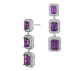 Amethyst Emerald Cut Halo Drop Earrings in Sterling Silver