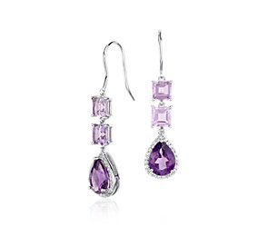 Lavender Amethyst and Amethyst Teardrop Earrings in Sterling Silver