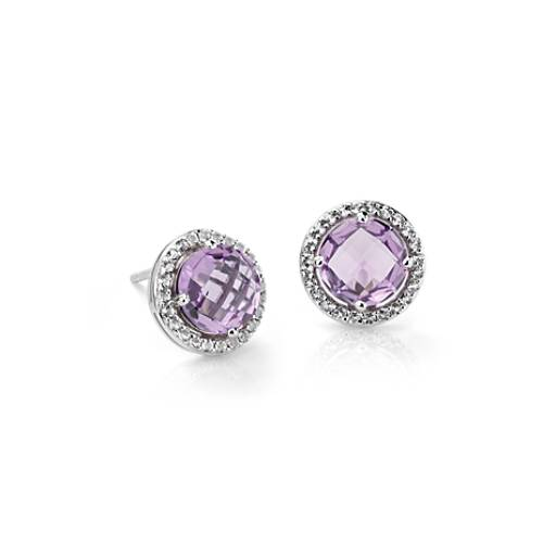 Amethyst and White Topaz Halo Earrings in Sterling Silver (7mm)