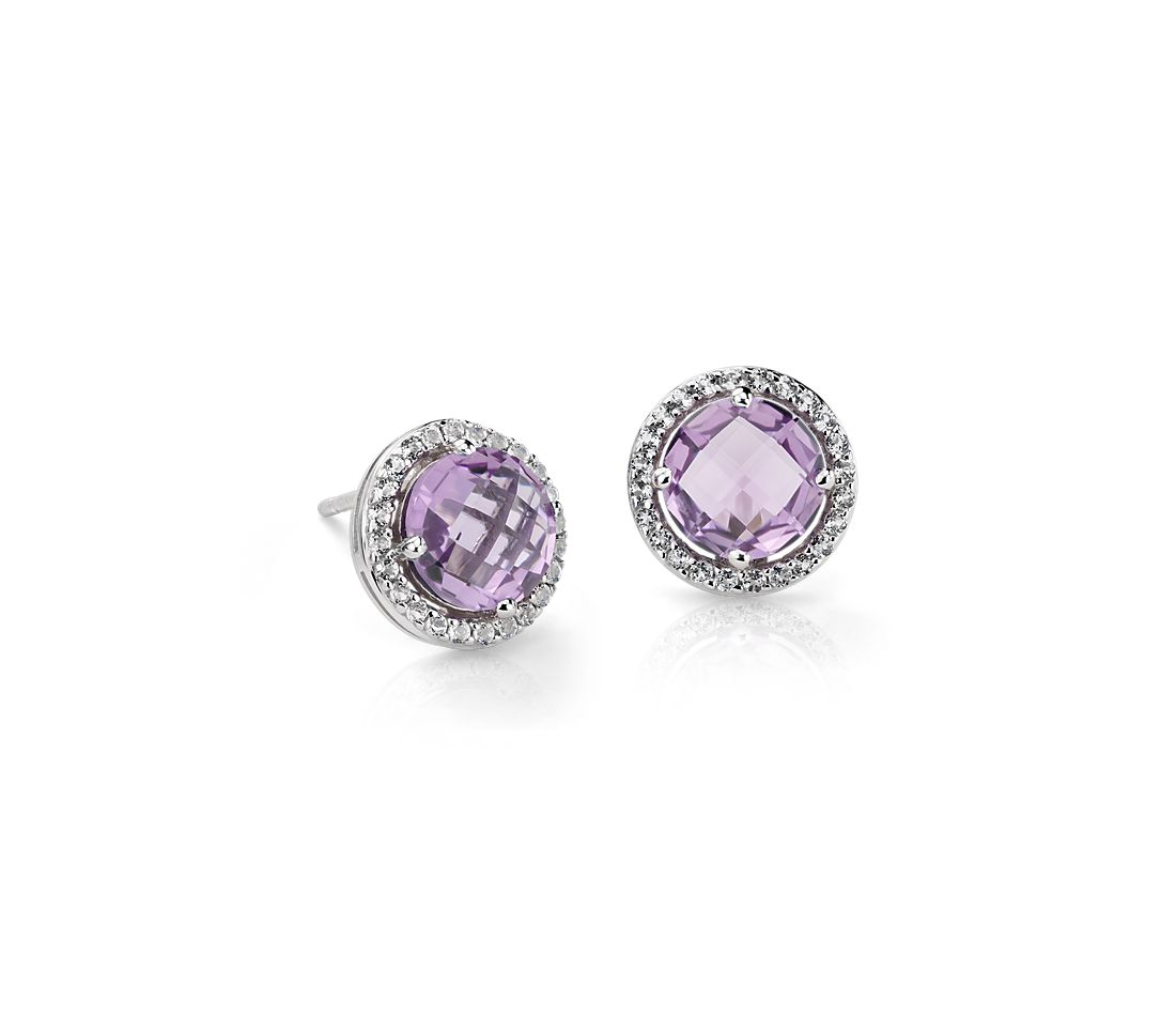 Amethyst and White Topaz Halo Earrings in Sterling Silver