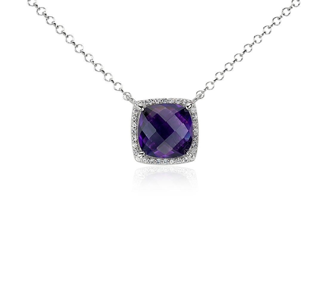 Amethyst and White Topaz Halo Necklace in Sterling Silver (10x10mm)