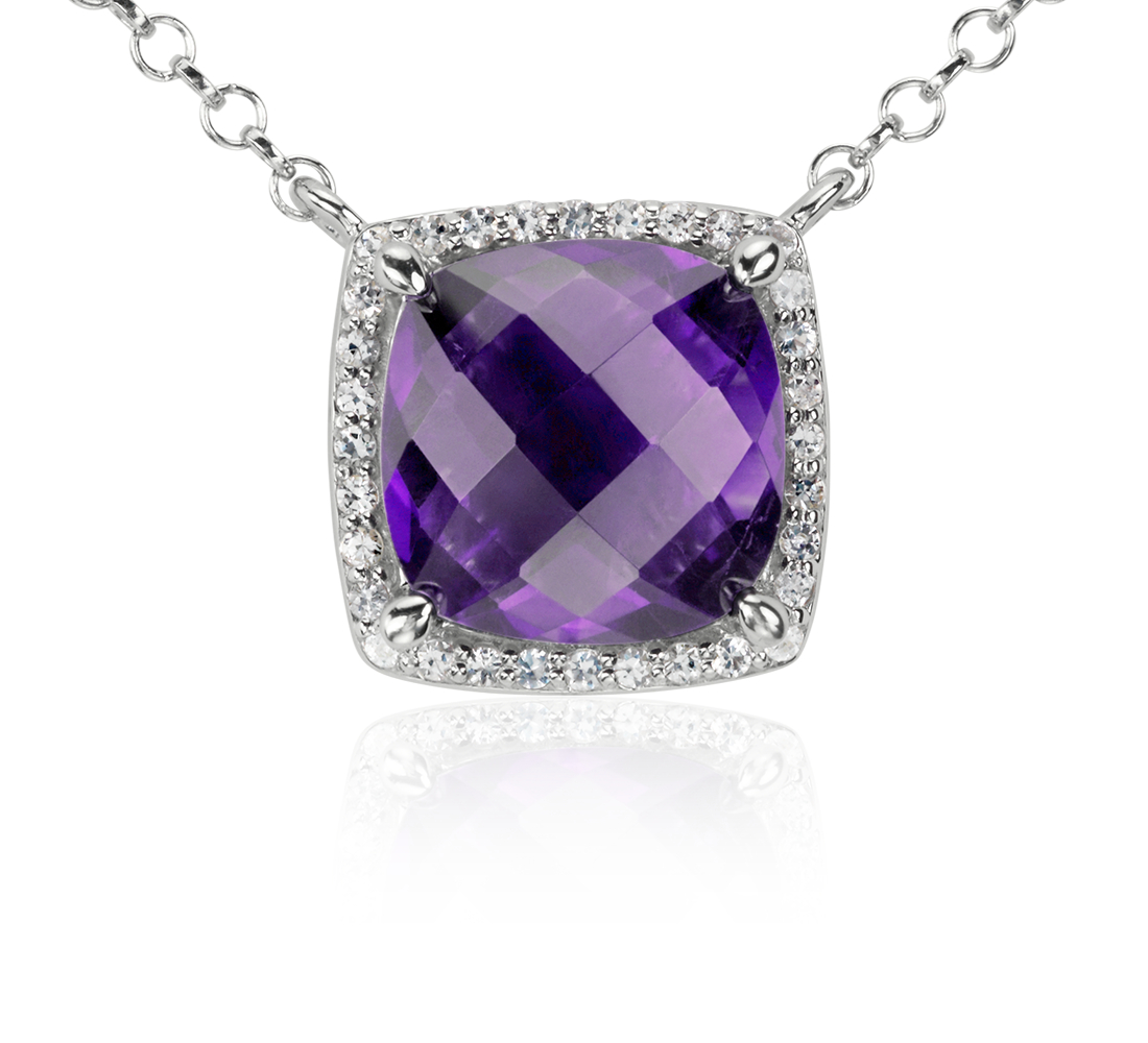 Amethyst and White Topaz Single Halo Necklace in Sterling Silver