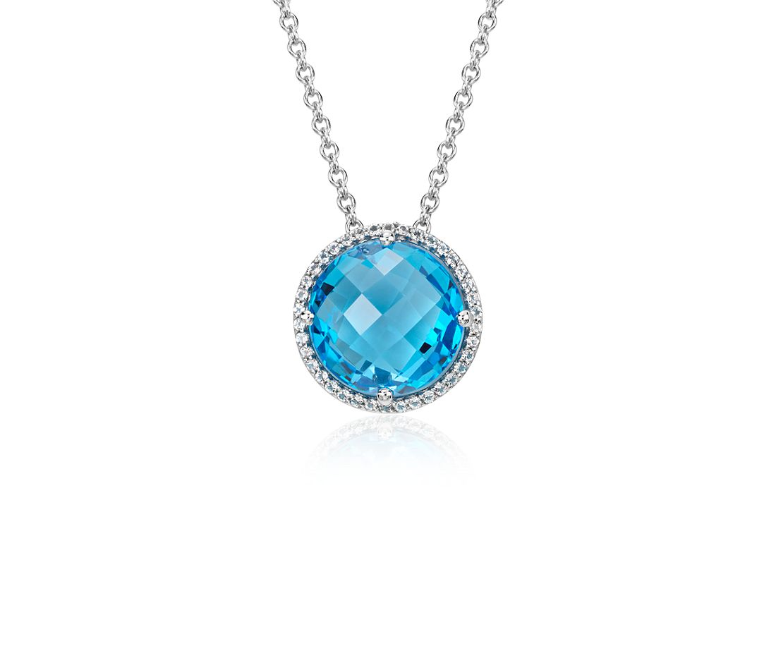 Blue Topaz and White Topaz Halo Necklace in Sterling Silver