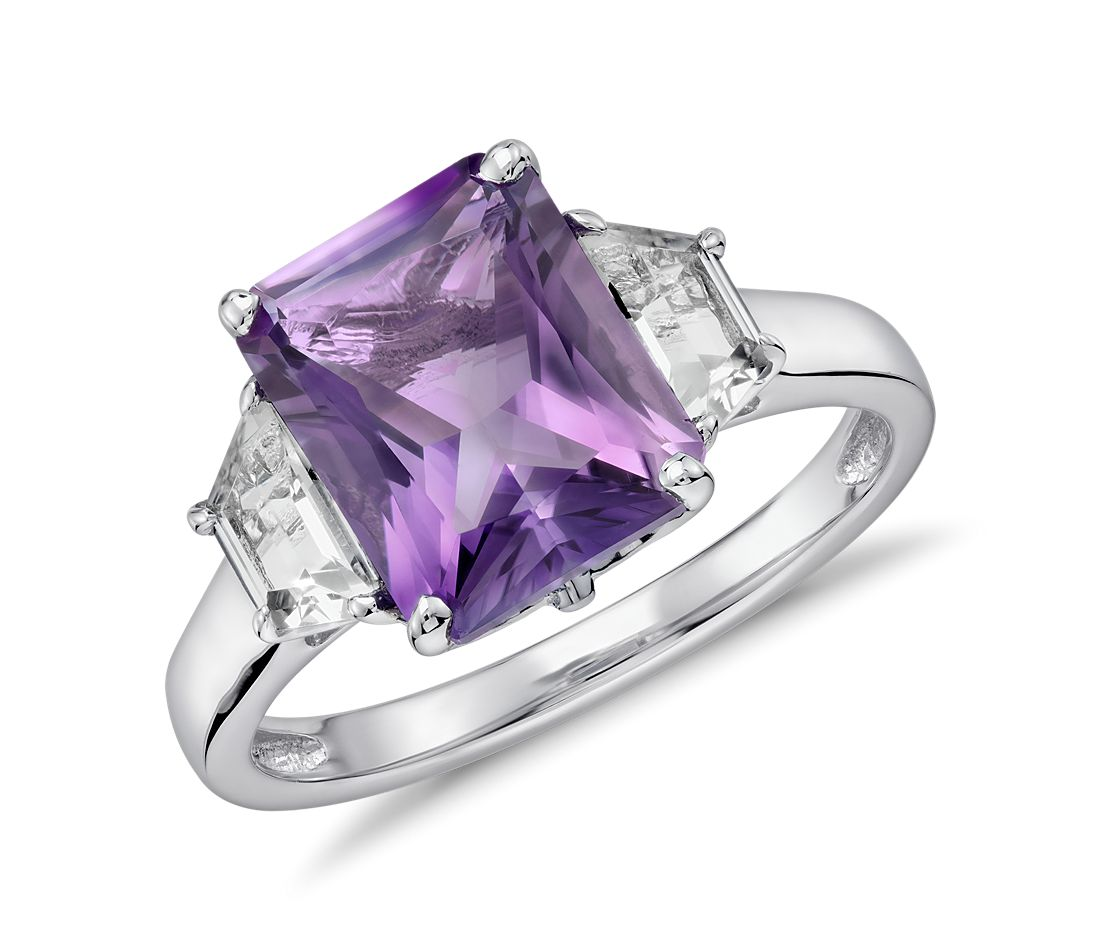 Amethyst and White Topaz Radiant Cut Ring in Sterling Silver