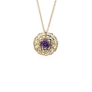 NEW Angela George Amethyst Woven Halo Pendant in 18k Yellow Gold (5mm)