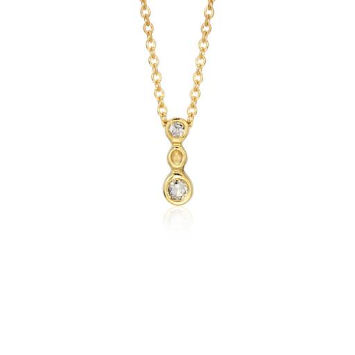 Diamond Triple Bubble Drop Pendant in 18k Yellow Gold