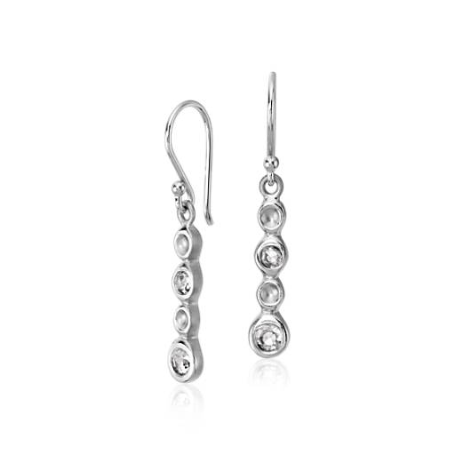 Diamond Bubble Drop Earring in 14k White Gold
