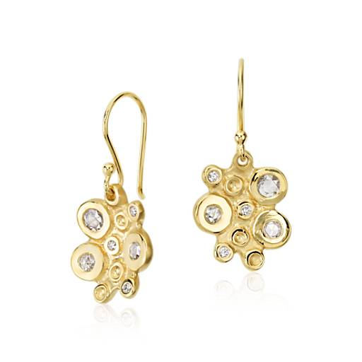 Diamond Bubble Cluster Drop Earring in 18k Yellow Gold