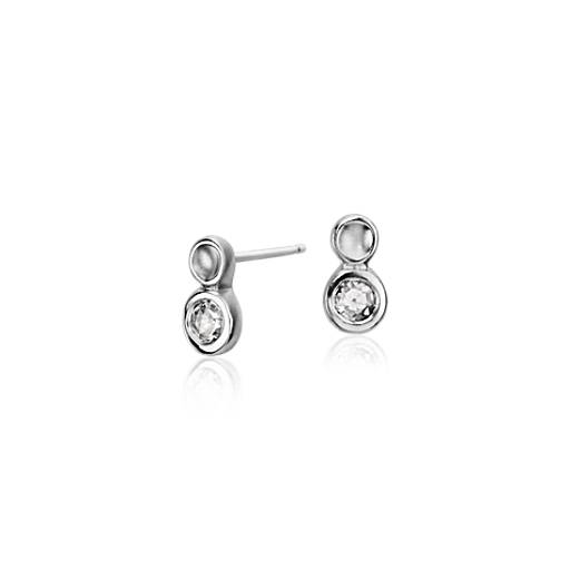 Diamond Single Bubble Stud Earring in 14k White Gold