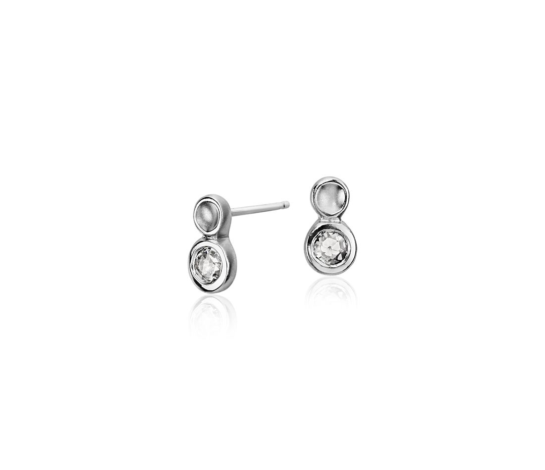 Anne Sportun Diamond Single Bubble Stud Earring in 14k White Gold