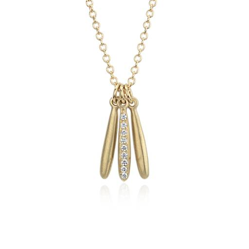 Trio Diamond Icicle Pendant in 18k Yellow Gold