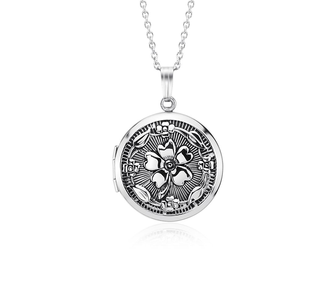 Antiqued Round Floral Locket in Sterling Silver