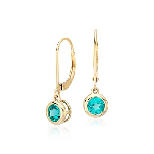 Apatite Round Drop Earrings 14k Yellow Gold (5mm)