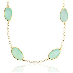 Aqua Chalcedony Long Necklace in Gold Vermeil