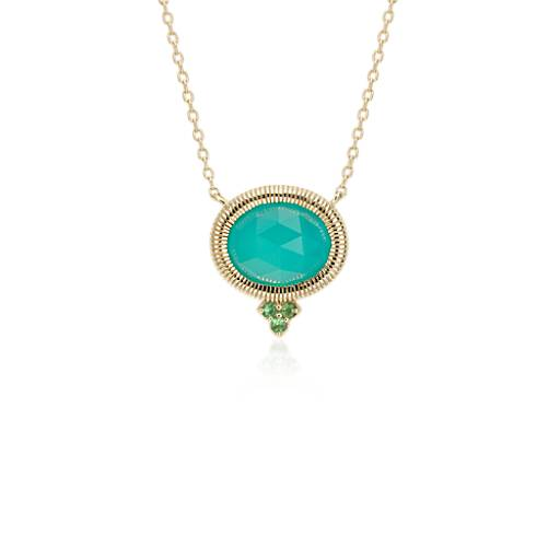 NEW Frances Gadbois Aqua Chalcedony Bezel Necklace in 14k Yellow Gold (10x8mm)