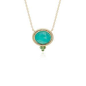 NEW Frances Gadbois Aqua Chalcedony Bezel Necklace in 14k Yellow Gold