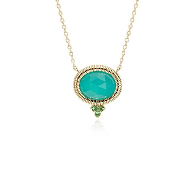 Frances Gadbois Aqua Chalcedony Bezel Necklace in 14k Yellow Gold (10x8mm)