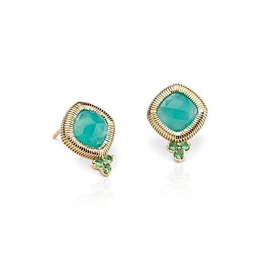 NEW Frances Gadbois Aqua Chalcedony Rose Cut Stud Earrings in 14k Yellow Gold