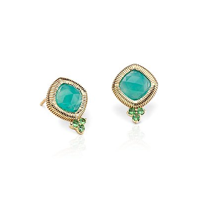 Frances Gadbois Aqua Chalcedony Rose Cut Stud Earrings in 14k Yellow Gold (6mm)