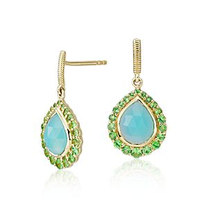 Frances Gadbois Aqua Chalcedony and Tsavorite Halo Earrings in 18k Yellow Gold (9x7mm)