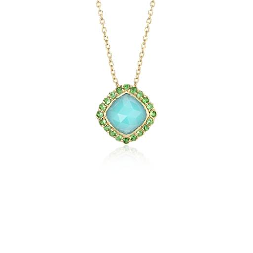 NEW Sloane Street Aqua Chalcedony and Tsavorite Halo Pendant in 18k Yellow Gold