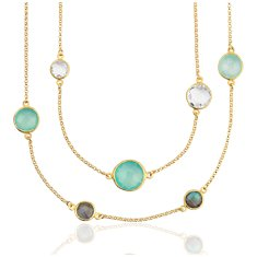Aqua Chalcedony, White Quartz, and Labradorite Necklace in 18k Yellow Gold Vermeil