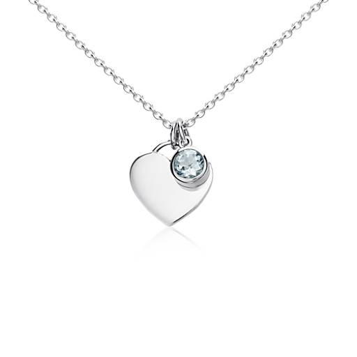 Aquamarine Birthstone Heart Pendant in Sterling Silver (March)