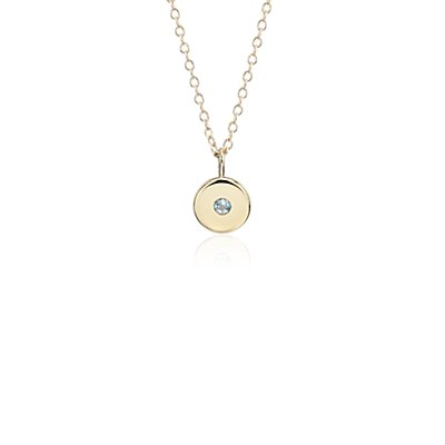 Mini Aquamarine Birthstone Charm Pendant in 14k Yellow Gold - March (2mm)