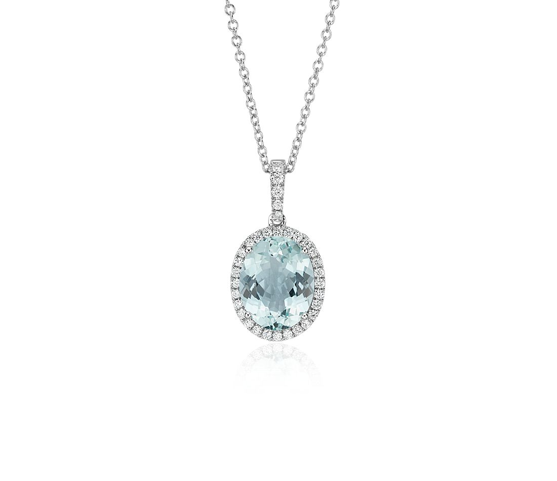 Aquamarine and Diamond Pendant in 14k White Gold (10x8mm)