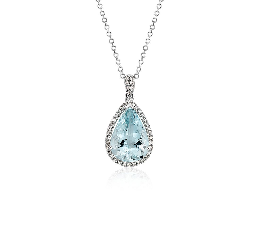 Aquamarine and Diamond Halo Pendant in 14k White Gold