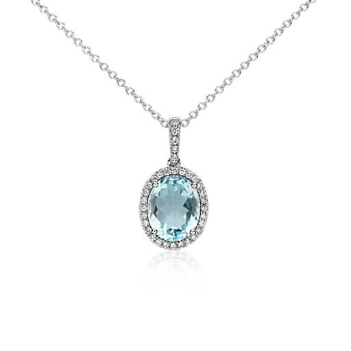 Aquamarine and Diamond Pendant in 14k White Gold (10x8mm)