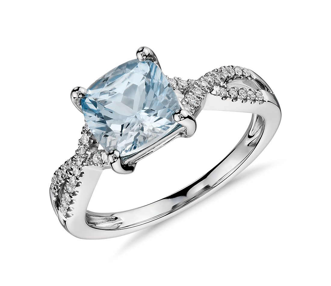 Aquamarine and Diamond Infinity Twist Ring in 14k White Gold