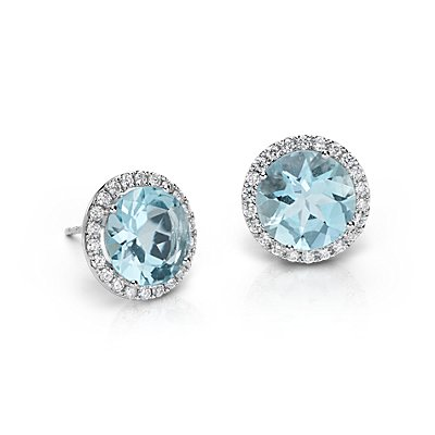 Aquamarine and Diamond Halo Earrings in 18k White Gold (5.32 cts)