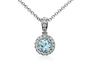 Aquamarine and Micropavé Diamond Pendant in 18k White Gold (5mm)